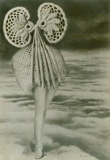 Max ERNST, Au-dessus des nuages, marche la Minuit. Au-dessus de la Minuit, plane l'oiseau invisible du jour. Un peu plus haut que l'oiseau, l'éther pousse et les toîts flottent.  Collage, 1920. 18,4 x 13 cm. Colección particular