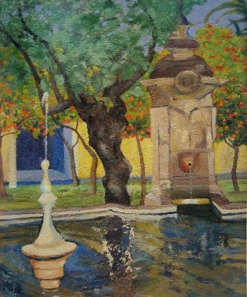 La Fuente del Olivo (Patio de los Naranjos, Córdoba). 1973. Óleo s/lienzo, 46 x 38 cm. Colección Domingo Ortega, Madrid
