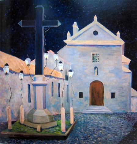 Noche en la plaza de los Dolores (Córdoba). 1978. Óleo s/lienzo, 100 x 100 cm. Colección Ayora Baena, Madrid