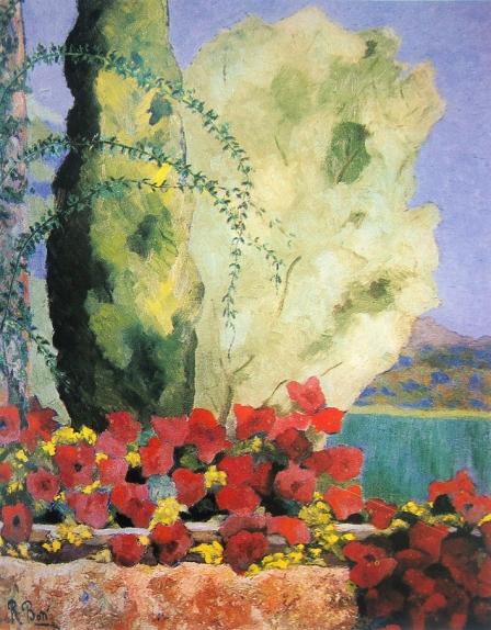 El arriate de petunias (El Tomillar, Torrelodones). 1978. Óleo s/lienzo, 65 x 54 cm. Real Academia de Córdoba