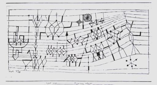 Escritura. Personajes. 1925. Tinta (pluma) sobre papel montado en cartón. 11,7 x 20,5 cm. Colección Eberhard W.Kornfeld, Berna.