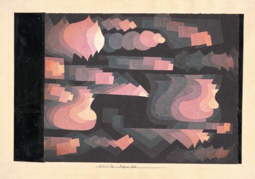 Fuga en rojo, 1921. Acuarela sobre Canson. 24,3 x 37,2 cm. Colección privada. Berna
