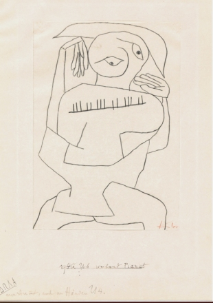 Eidola, ex-pianista, 1940. Tiza grasa negra sobre papel Concept Biber s/cartón. 29,7 x 21 cm. Fundación Paul Klee, Berna