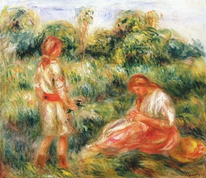 Femme et jeune fille dans un paysage c. 1916 Óleo s/lienzo 40,5 x 46,5 cm