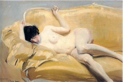 Desnudo en el diván amarillo 1912 Óleo s/lienzo 100,5 x 150,5 cm