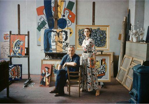 Fernand Léger y la modelo Anne Guning, con un vestido de Claire McCardell, 1955 para Life