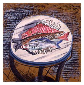 Bodegón de pescados, 1927. Óleo sobre tabla, 51,8 x 51, 8 cm. Colección de Arte de Caja Cantabria, Santander