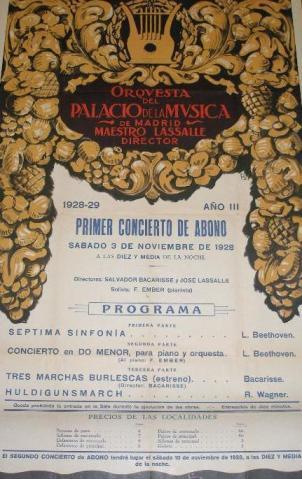 Cartel original del concierto que ofreció la orquesta del Palacio de la Música dirigida por el Maestro José Lasalle el sábado 3 de noviembre de 1928.
