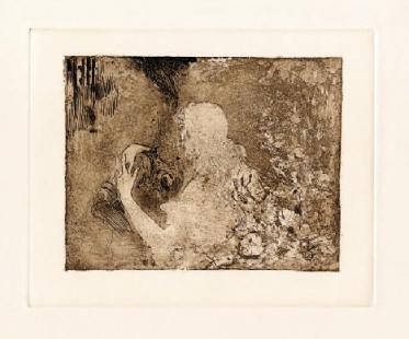 El abrazo de Kundry a Parsifal (S.F.) Aguafuerte y aguatinta, Calcografía Nacional, Madrid
