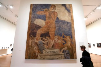 """""""Lo temporal no és mes que símbol"""" by artist Joaquin Torres-Garcia, is displayed during a preview of a retrospective of his work, at the Museum of Modern Art, in New York, Tuesday, Oct. 20, 2015. (AP Photo/Richard Drew)"""
