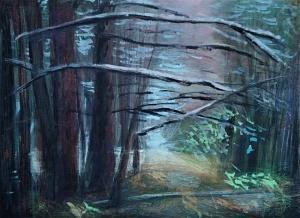 Paisaje de invierno, 2019. Lápiz color y óleo s/tela, 30 x 40 cm